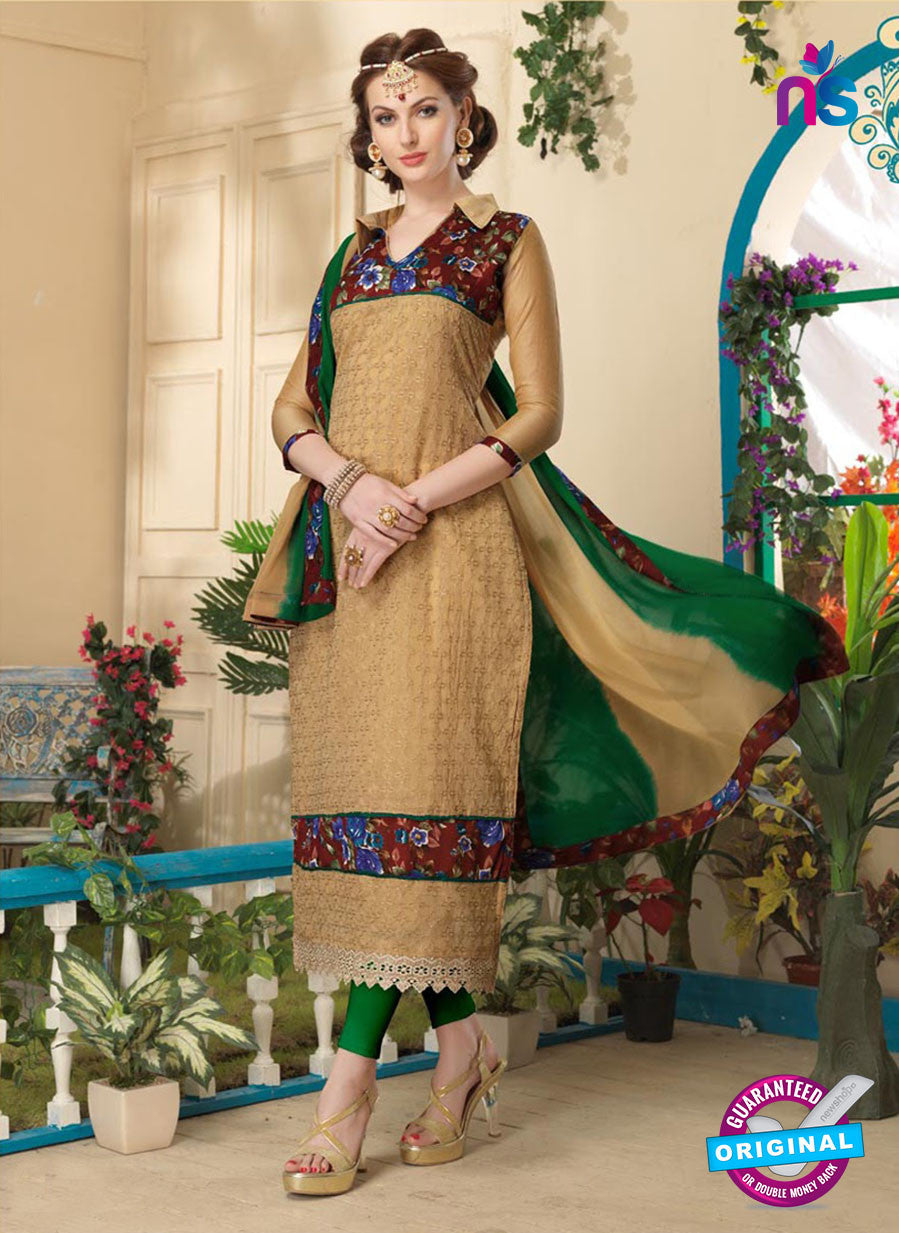NS10815 Sendy Brown and Green Party Wear Chanderi Bhagalpuri Straight Suit