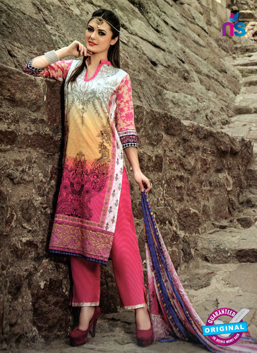 NS 124512 Multicolor and Pink Printed Cotton Straight Suit