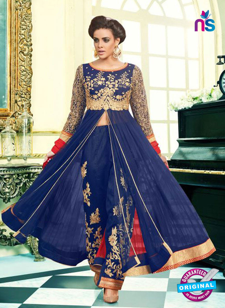 SC 13098 Blue and Red Net Party Wear Semi-stitched Anarkali Suit
