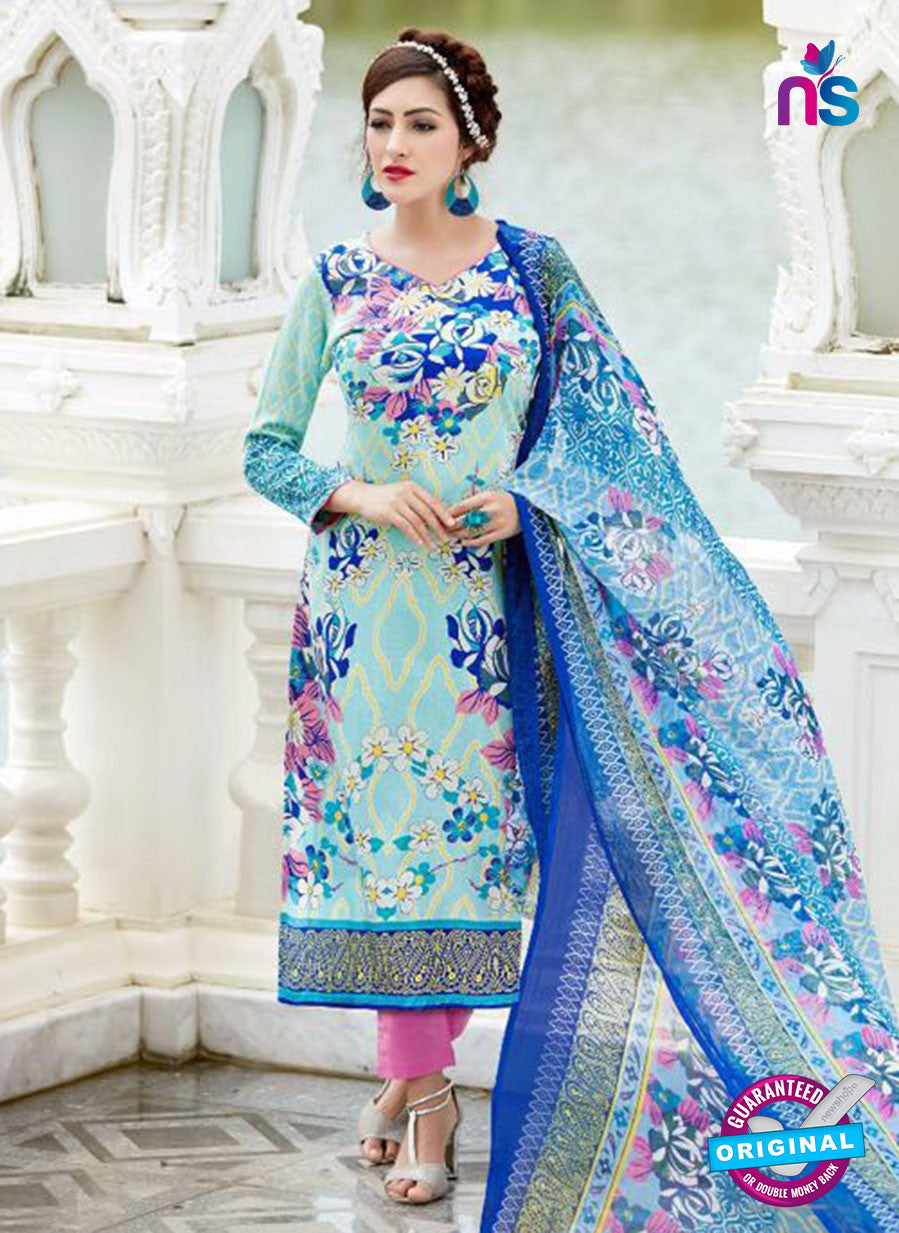 SC 13650 Sky Blue and Pink Printed Glace Satin Cotton Designer Fancy Ethnic Exclusive Salwar Straight Suit