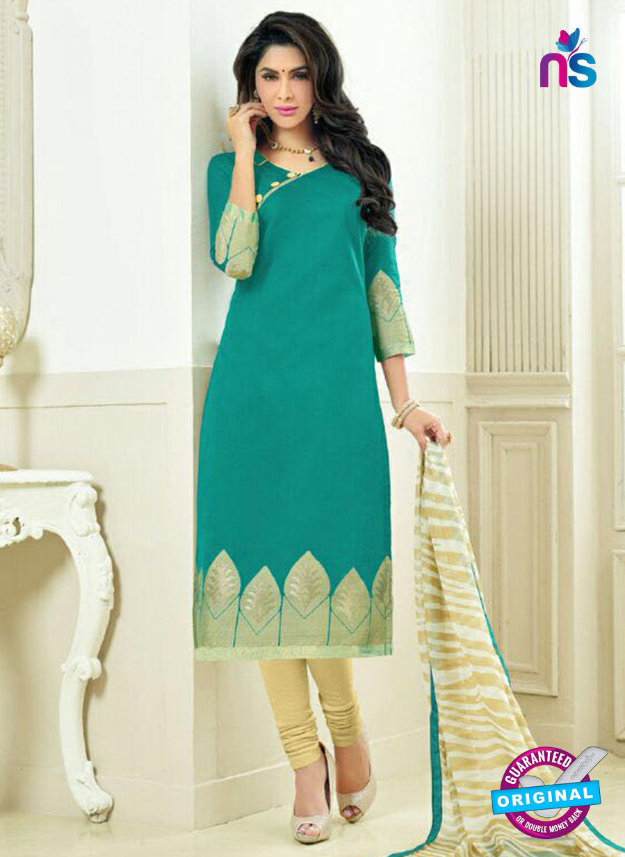 SC 13876 Sea Green and Beige Banarasi Jacquard Latest Designer Fancy Straight Suit