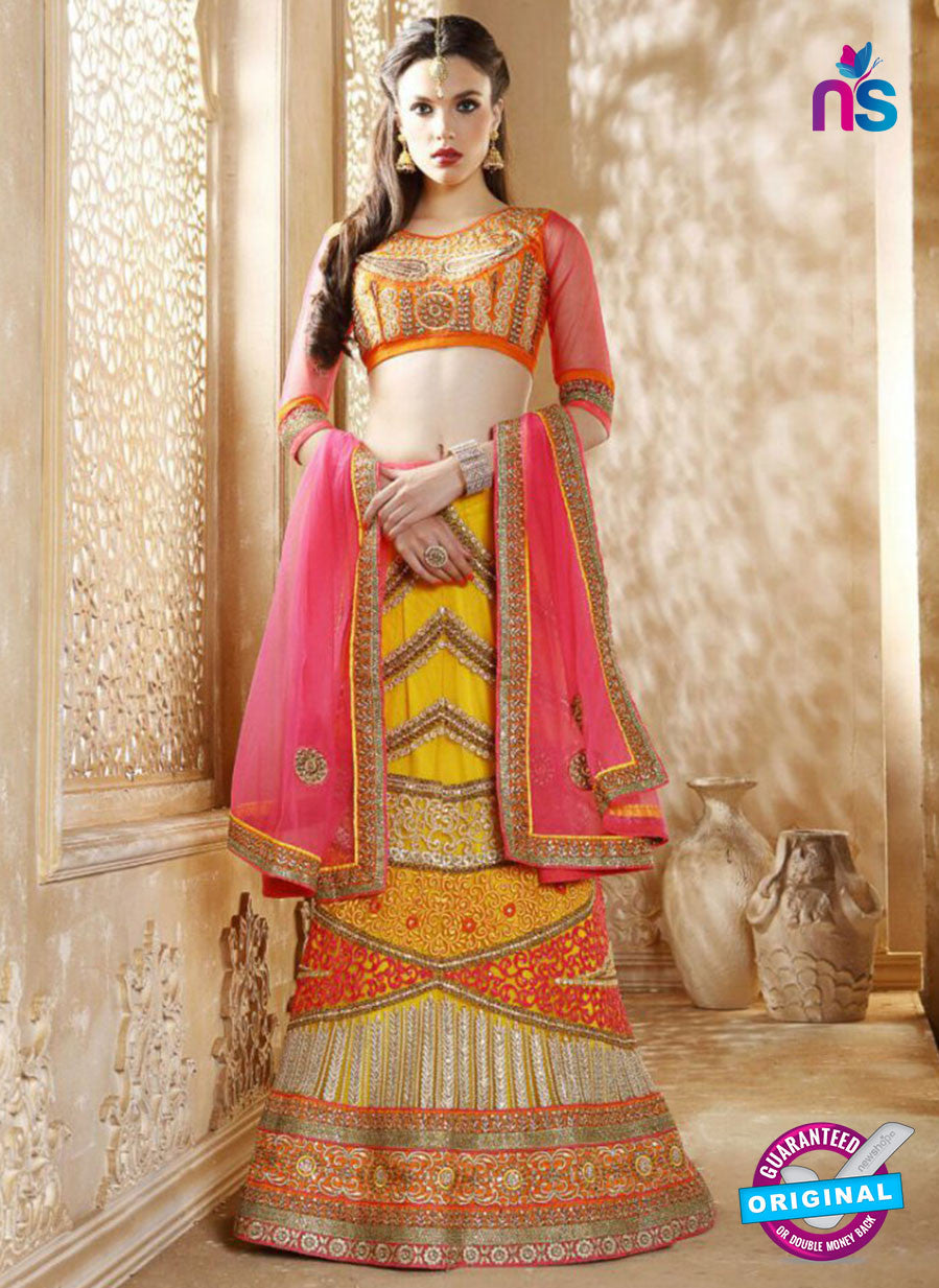 AZ 2006 Yellow Net Embroidered Party Wear Lehenga