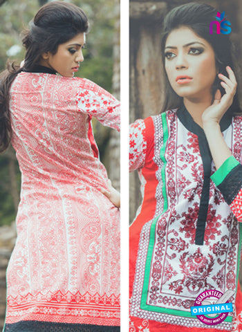 SC 13337 White and Red Cotton Lawn Kurti Online