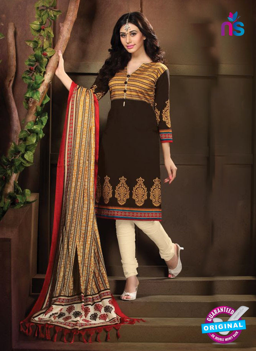 NS11195 Coffee and Ivory Daily Wear Heavy Banglori Printed Salwar Suit