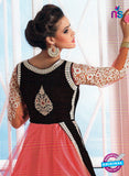 NS10648 Black and Peach Pure Valvet Designer Suit