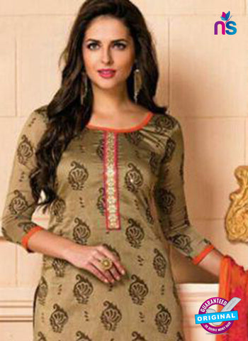 Brown Designer Chanderi Straight Suit