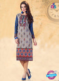 NS10919 Grey Color Cotton Designer Kurti