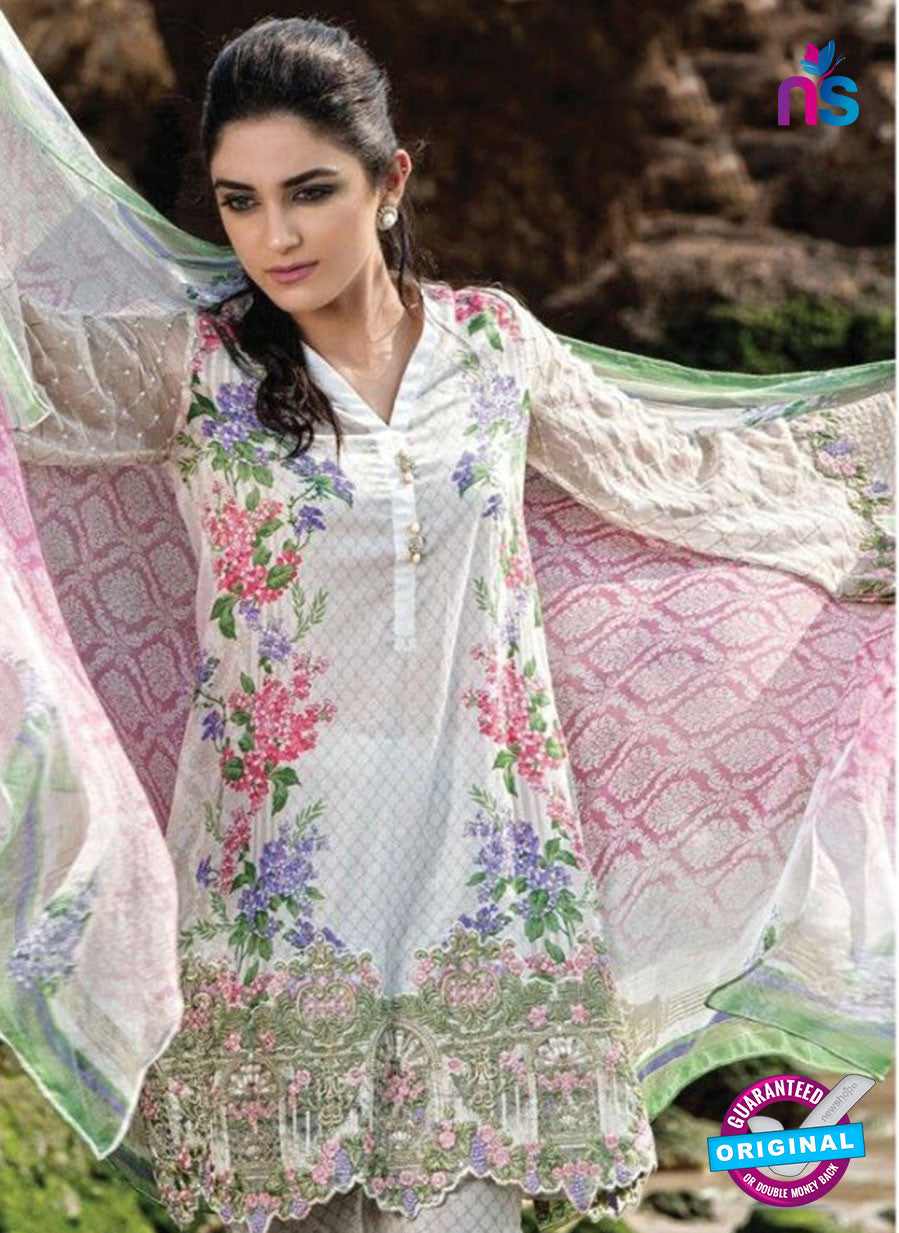 SC 12991 White and Pink Lawn Cotton Pakistani Suit