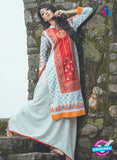 NS10055 Orange and Blue Cotton Lawn Kurti
