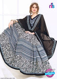 AZ 2003 Black and Grey Georgette Fancy Formal Saree - Sarees - NEW SHOP