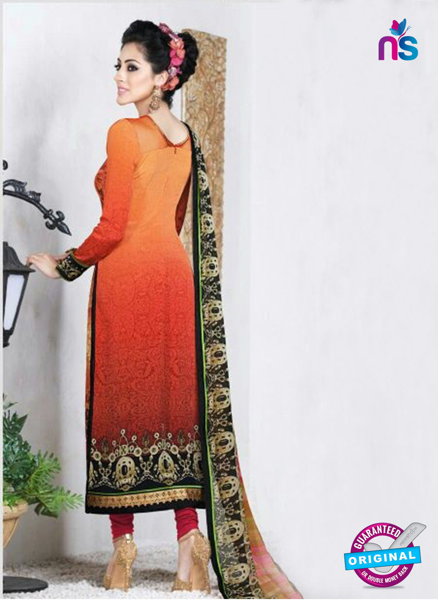 AZ 3494 Orange French Crepe Embriodery Formal Suit - Salwar Suits - NEW SHOP