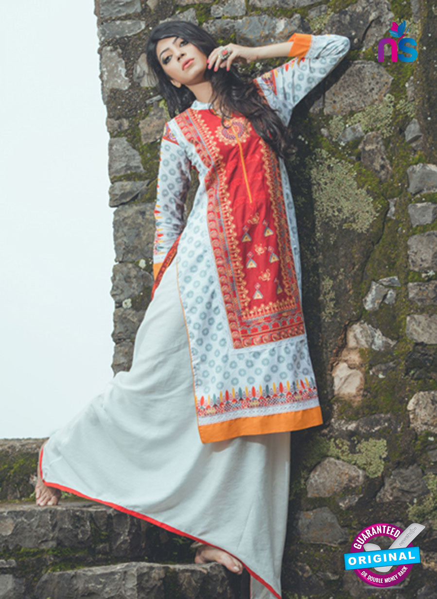 SC 13338 Red and Blue Cotton Lawn Kurti
