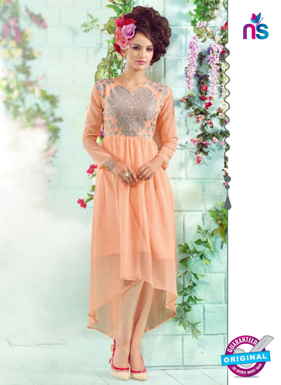 SC 12999 Peach Embroidered Georgette Party Wear Stitched Kurti