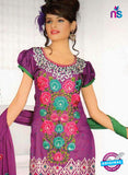 NS10840 Purple and Olive Green Georgette Chudidar Suit