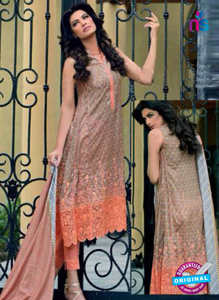 SC 14099 Beige and Peach Exclusive Fancy Designer Straight Suit