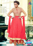 SC 13099 Red and Beige Heavy Net Party Wear Semi-stitched Anarkali Suit