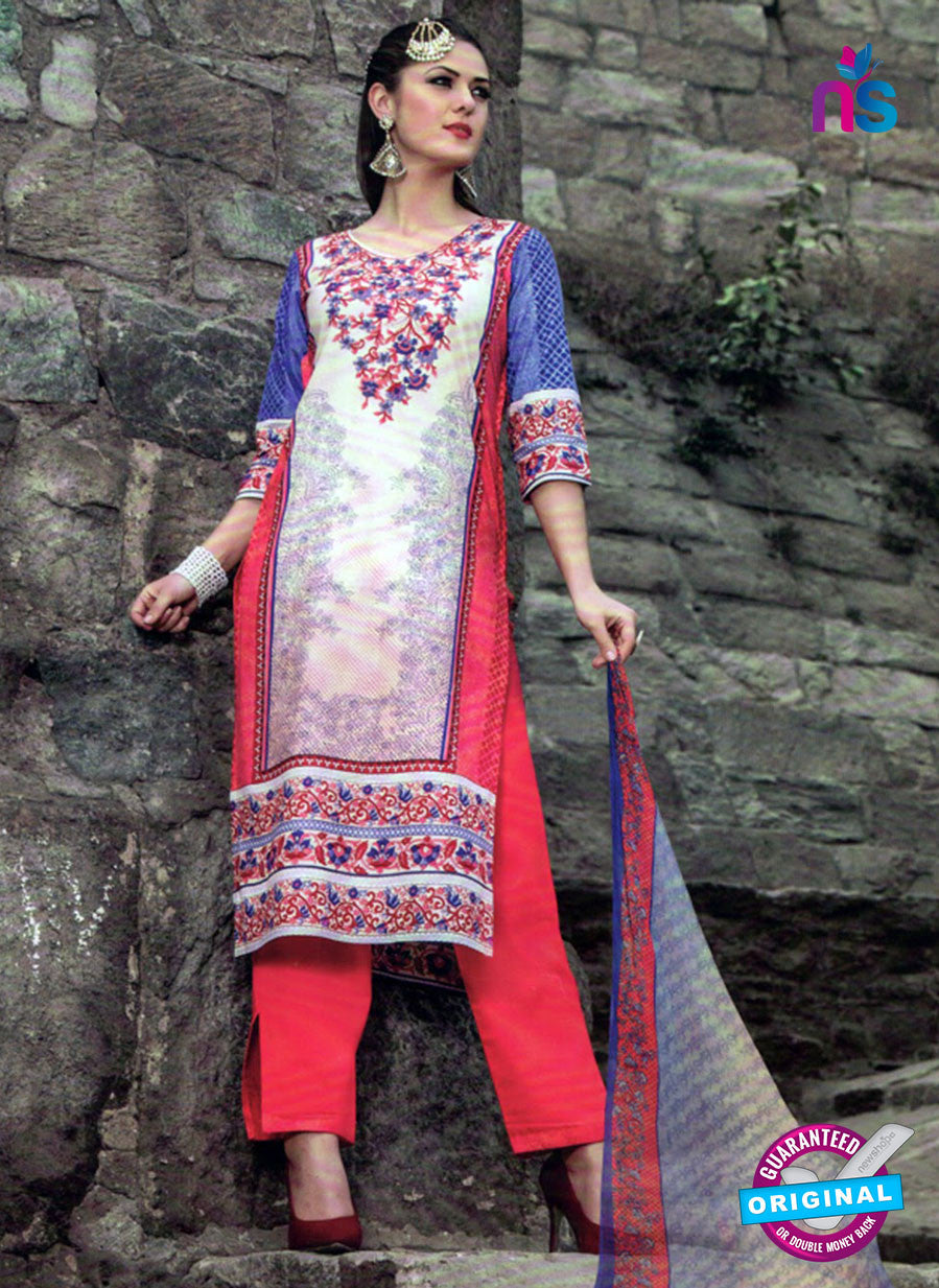 NS 124508 White and Red Printed Cotton Straight Suit