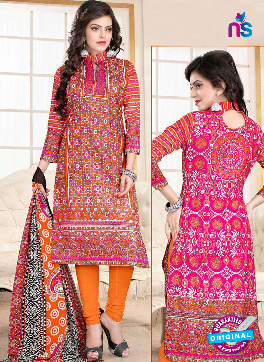SC 13023 Pink and Orange Printed Cambic Pakistani Suit