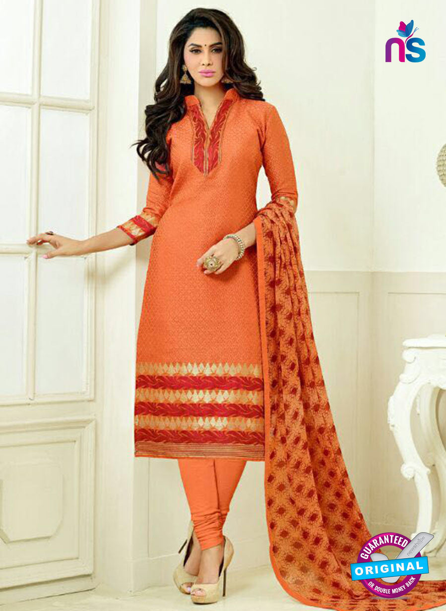 SC 13871 Orange Banarasi Jacquard Latest Designer Fancy Straight Suit