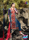 SC 12918 Red and Blue Faux Georgette Party Wear Straight Suit