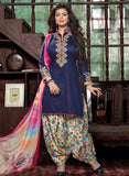 Deepsy 1006  Blue & Multicolor Glace Cotton Designer Suit
