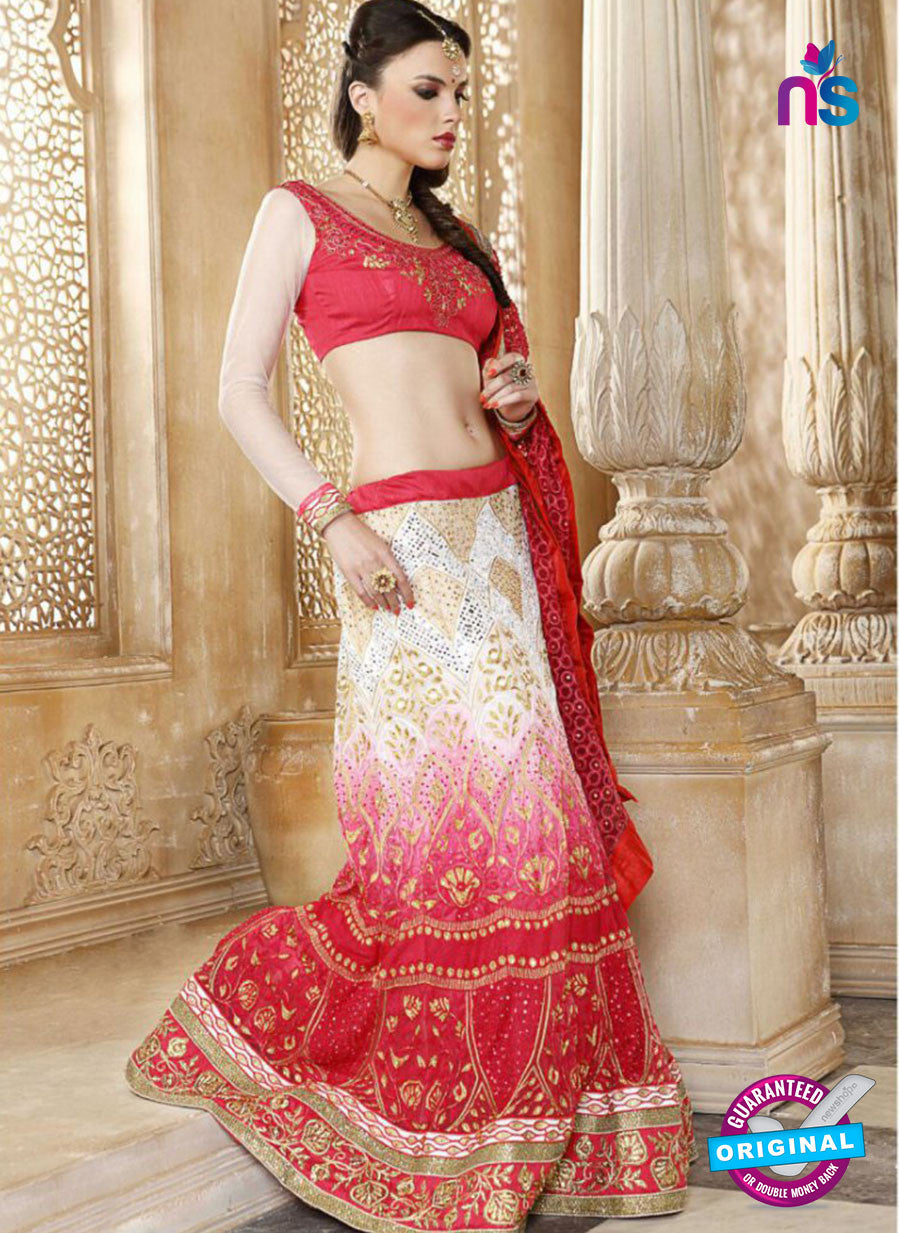 AZ 2007 White and Red Net Embroidered Party Wear Lehenga