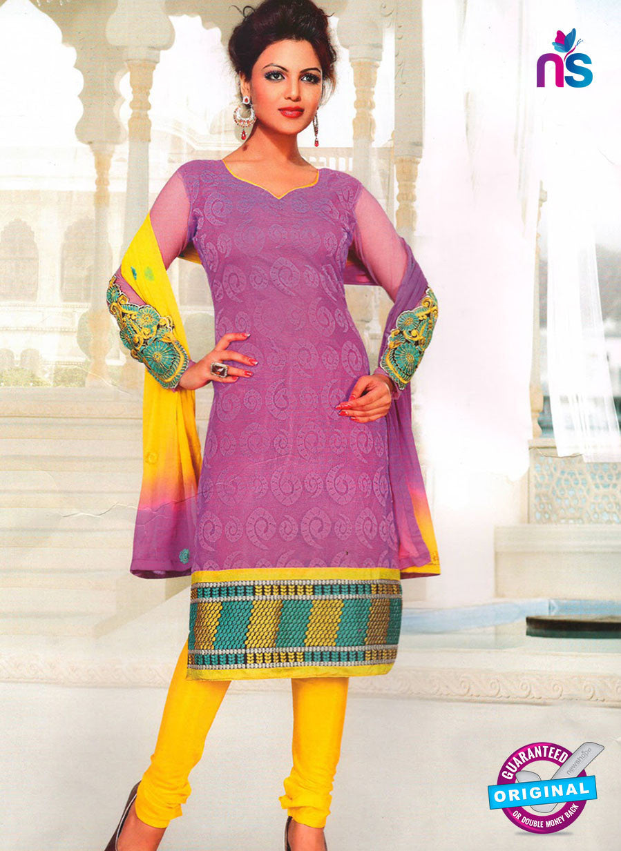 NS11035 Violate and Yellow Party Wear Russel Net Salwar Suit