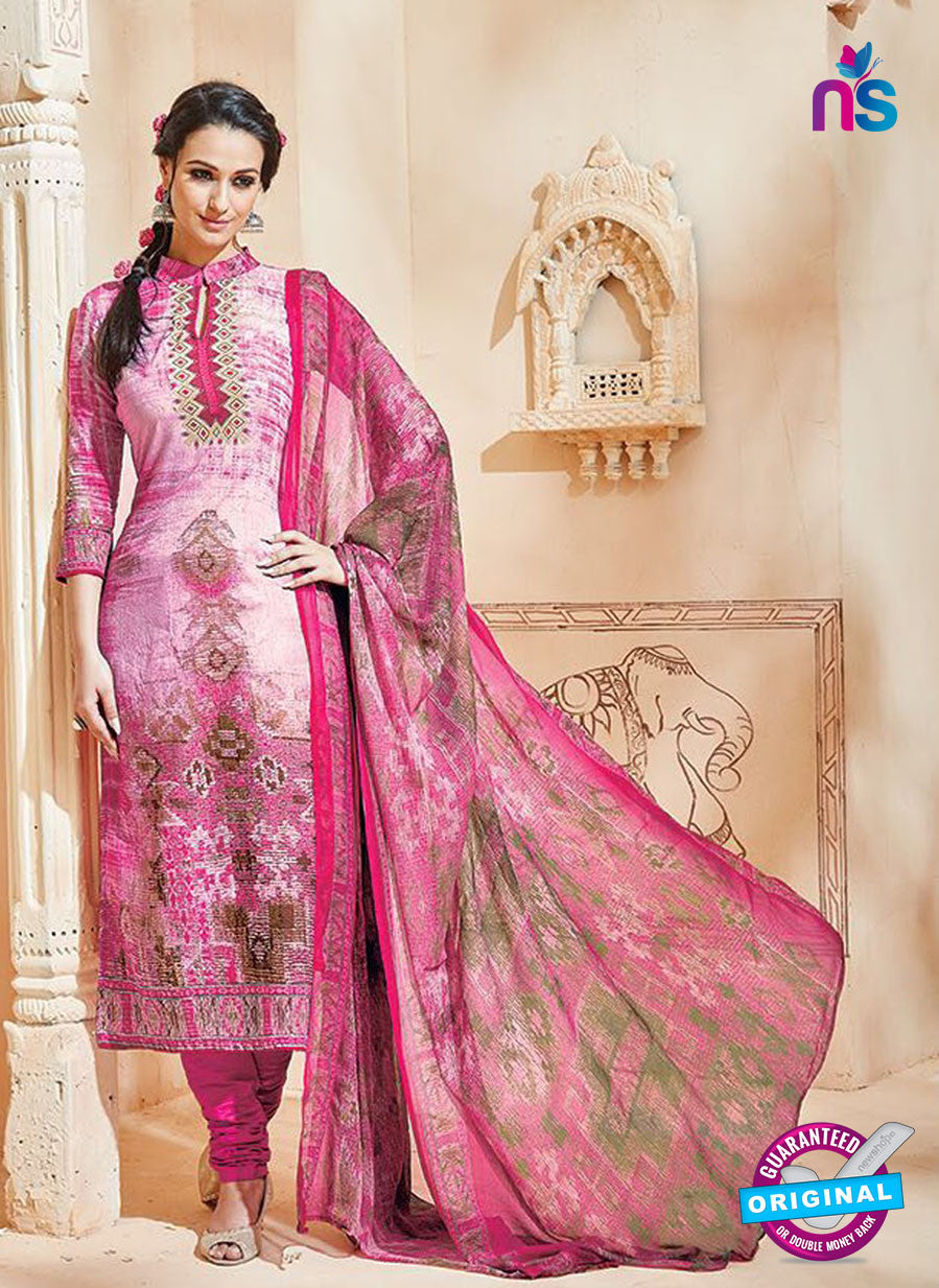 SC 12995 Pink and Multicolor Printed Cambric Cotton Straight Suit