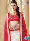 AZ ESZ 2007 White and Red Net Embroidered Party Wear Lehenga