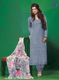 NS11503 Gray Party Wear Georgette Straight Suit