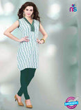 NS11155 B White and Green Designer Cotton Kurti