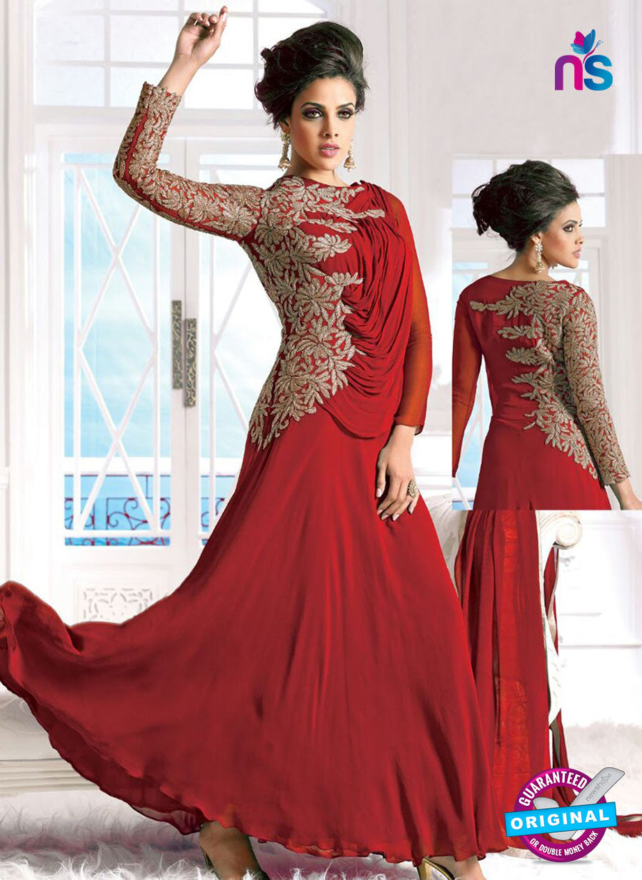 SC 12619 Red Embroidered Georgette Party Wear Designer Gawn