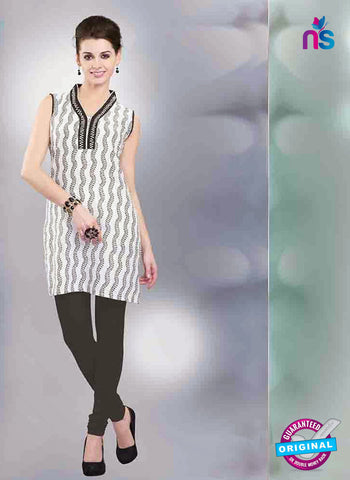 NS11154 A White and Black Designer Cotton Kurti Online