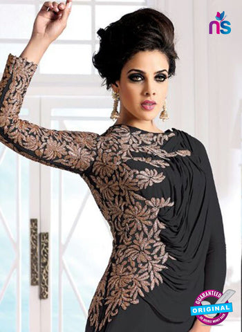 SC 12617 Black Embroidered Georgette Party Wear Designer Gawn