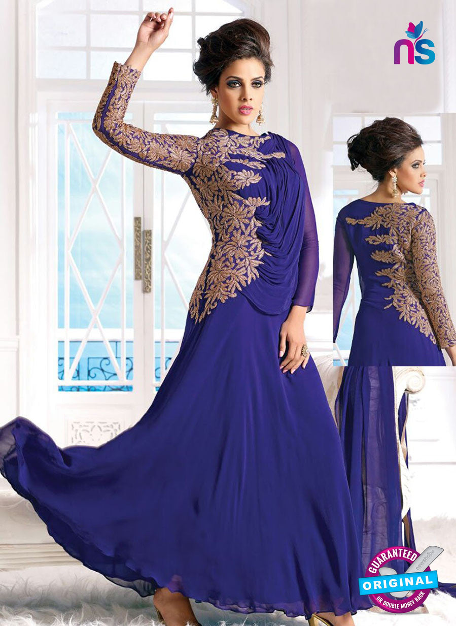 SC 12618 Blue Embroidered Georgette Party Wear Designer Gawn