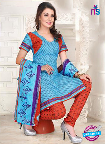 NS12095 Sea Blue and Red Chudidar Suit