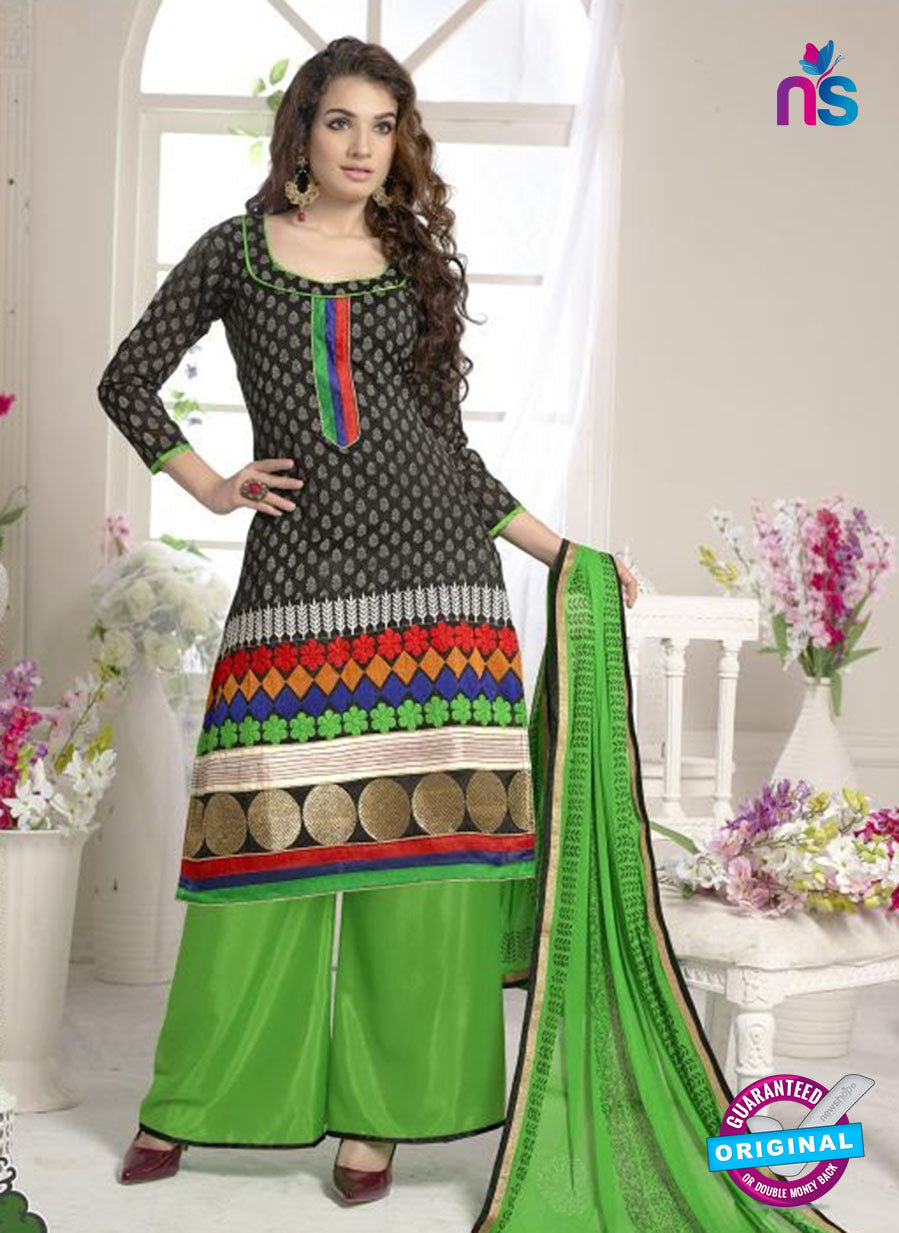 SC 12660 Black and Green Designer Heavy Chanderi with Embroidered Plazo