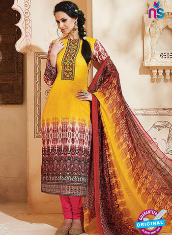 SC 13003 Yellow and Multicolor Printed Cambric Cotton Straight Suit