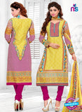 SC 12770 Yellow and Magenta Embroidered Pure Cambric Cotton Suit