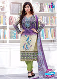 SC 13222 Purple and Green Silk Crape Straight Suit