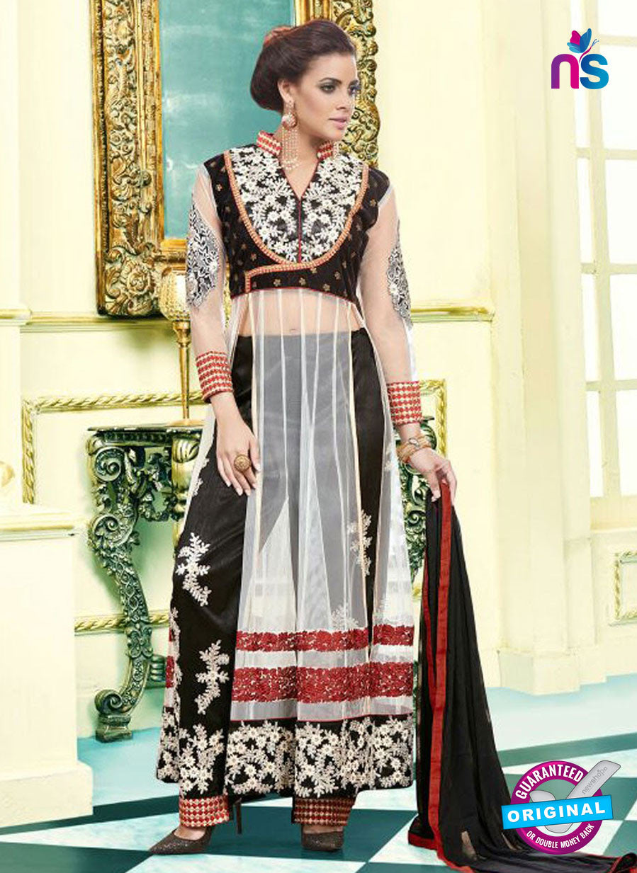 SC 13100 Black and White Net Party Wear Semi-stitched Designer Suit