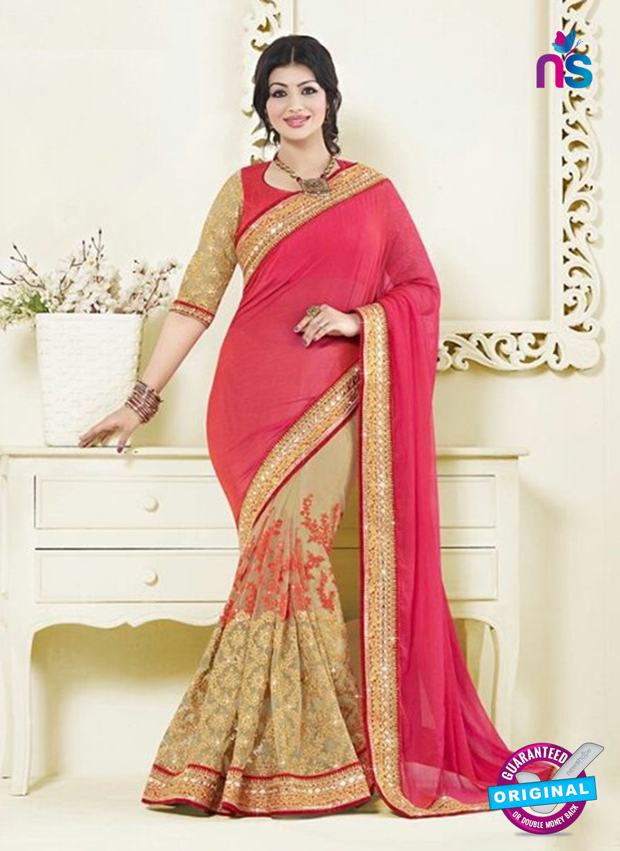 AZ 3465 Beige and Red Chiffon/Net Wedding Wear Saree