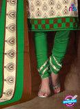 NS11197 Ivory and Green Daily Wear Heavy Banglori Printed Salwar Suit