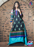 SC 13339 Black and Multicolor Cotton Lawn Kurti
