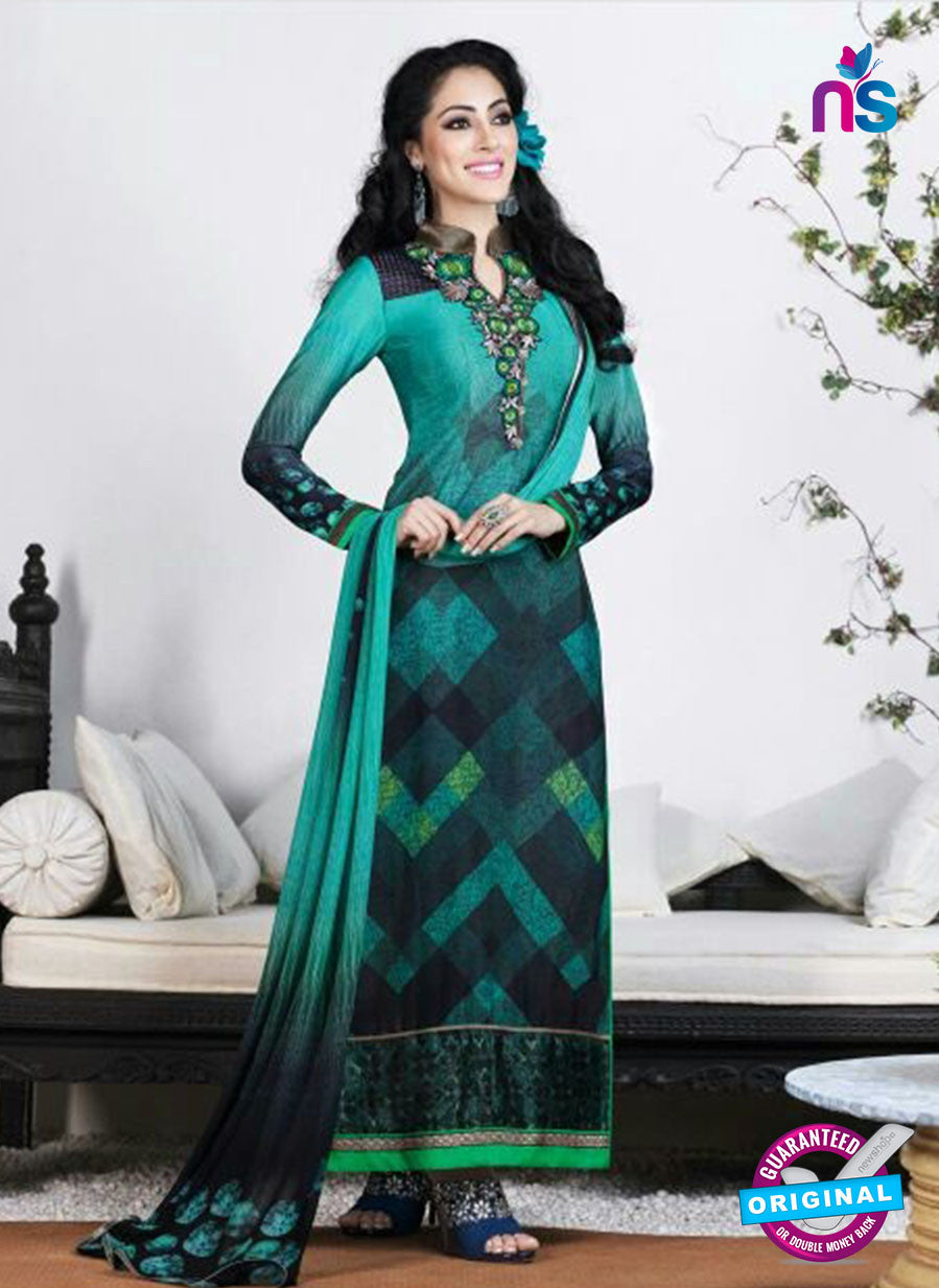 AZ 3495 Sea Green French Crepe Embriodery Formal Suit - Salwar Suits - NEW SHOP
