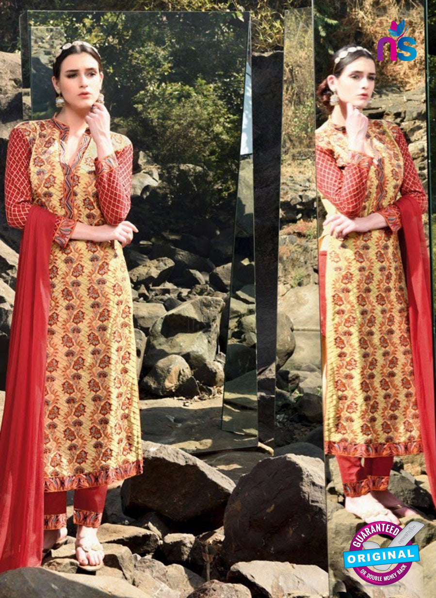 SC 12917 Red and Yellow Faux Georgette Party Wear Straight Suit