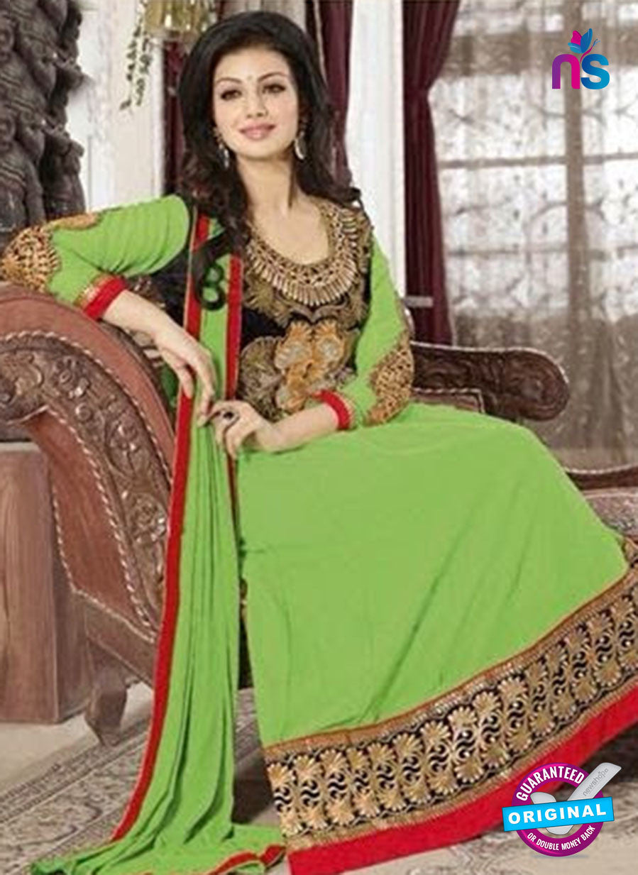 NS10118 Green and Red Goergette Anarkali Suit