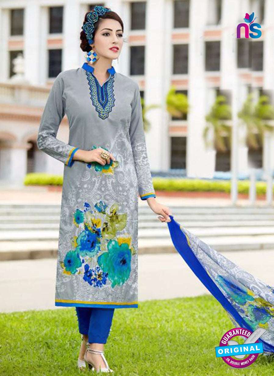SC 13643 Grey and Blue Printed Glace Satin Cotton Designer Fancy Ethnic Exclusive Salwar Straight Suit