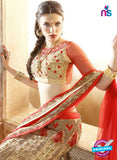 AZ ESZ 2008 Beige Net Embroidered Party Wear Lehenga