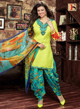 Deepsy 1007  Light Green & Blue Color Glace Cotton Designer Suit